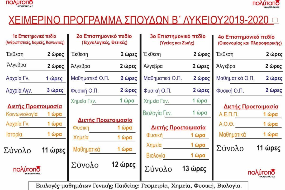 Β ΛΥΚΕΙΟΥ - ΠΡΟΓΡΑΜΜΑ ΣΠΟΥΔΩΝ 2019